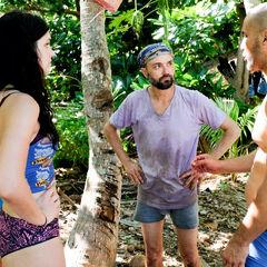 Wardog, Lauren and David converse at camp.