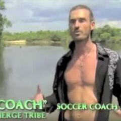 Coach making a confessional before the merged tribe is named.