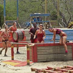 Hali with her tribe competing in the third Immunity Challenge.