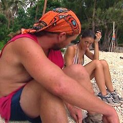 Chris tells Eliza they are going to the final three. Eliza corrects him by saying final two.