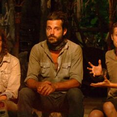 Adam, Hannah, and Ken at the Final Tribal Council.