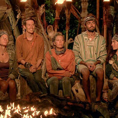 The purple team at Tribal Council.