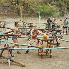 Josh and Baylor competing at the third Immunity Challenge.