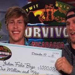 Fabio (left) with his check, and Chase Rice (right), who was Runner-Up, beside him at the Reunion Show.
