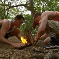 Josh and Reed making fire on Day Zero.