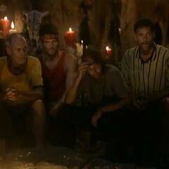 The La Mina men at Tribal Council.