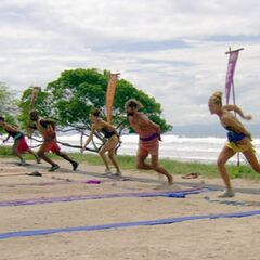 The castaways compete in the Immunity Challenge.
