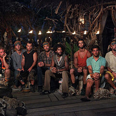 The Men at their first Tribal Council.