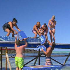 Nuku competes in the sixth Immunity Challenge, <i>Cargo Salvage</i>.
