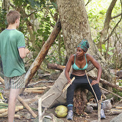 Spencer at camp with J'Tia.