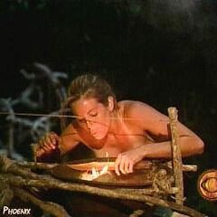 Danielle making fire.