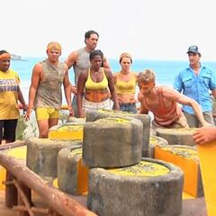 Josh competing at the first Immunity Challenge.
