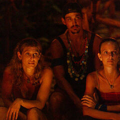 The final three at Tribal Council.