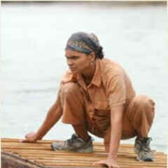 Sandra competing in the Final Immunity Challenge.
