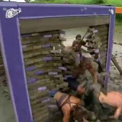 Zapatera crashes through their wall.