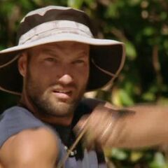 Chad prepares to fire at the Day 18 Immunity Challenge.