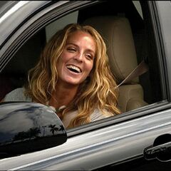 Cindy in her newly won car.