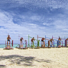 Solewa competing in the third individual Immunity Challenge, <i>Squatty Probst</i>.