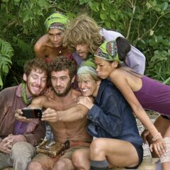 The castaways taking a group selfie.