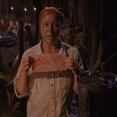 Sue casts the first vote in <i>Survivor</i> history.
