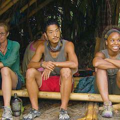 Tasha at camp with Kass and Woo.
