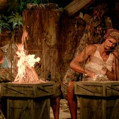 Ben and Devon compete in a fire-making challenge.
