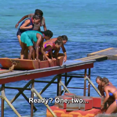Mana competing in the sixth Immunity Challenge, <i>Cargo Salvage</i>.