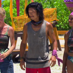 Tasha and her team in the Reward Challenge of the episode,