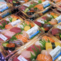 Nigirizushi for sale at a supermarket in Tokyo.