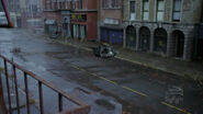 Drone patroling the street