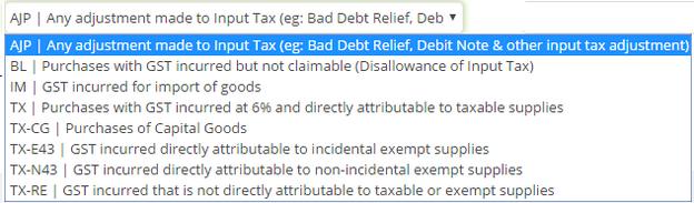 Input Tax Selection