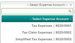 Select expense account 1a-0
