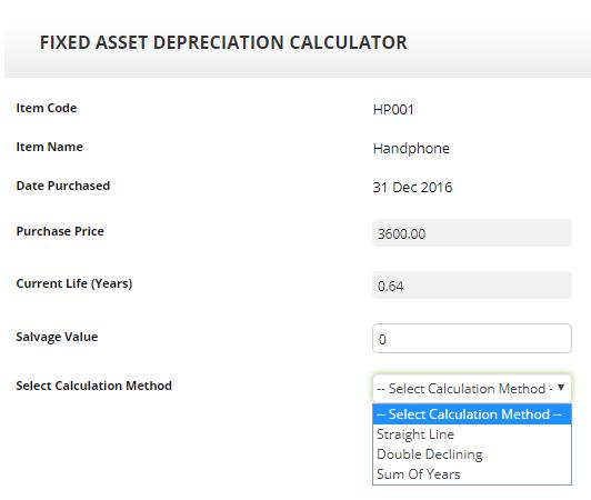FixedAsset Calculator