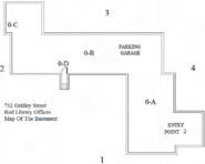 Red Library Offices Basement Map