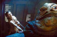 Leia choking Jabba