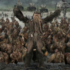 Quagga leading other Wookiees into battle.