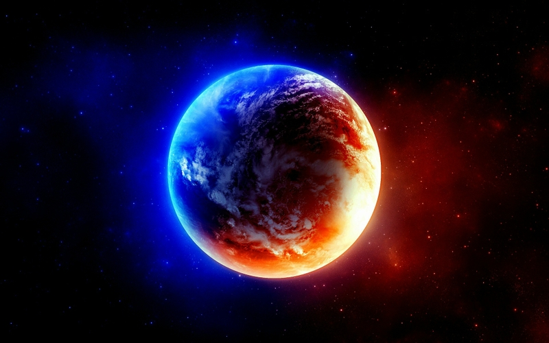 Blue Outer Space Red Planets Earth 1920x1200 Wallpaper Wall321 16