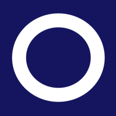 A proposed national flag delivered to the Separatist Parliament by the flag's anonymous designer, not adopted, delivered with notes explaining the flags meaning: blue for freedom, peace, justice and patriotism, White for purity [of the Separatist cause], and the ring represented the Outer Rim and the