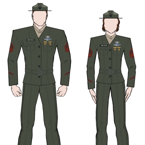 Service uniforms as worn by male and female staff sergeants.