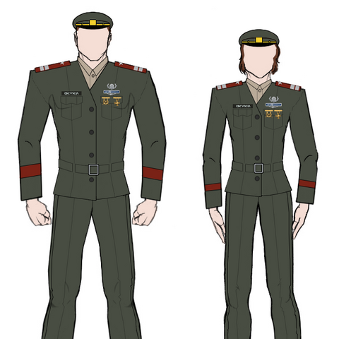 Service uniforms as worn by male and female lieutenants.