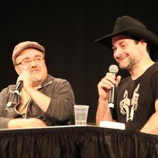 Pablo Hidalo (L) and Dave Filoni (R) talk <i>The Clone Wars</i>.