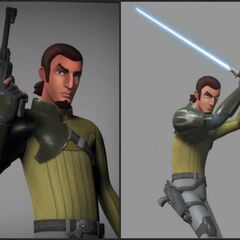 Kanan with his blaster and lightsaber