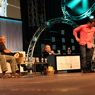 All four Boba Fett actors gather on stage for the first time.