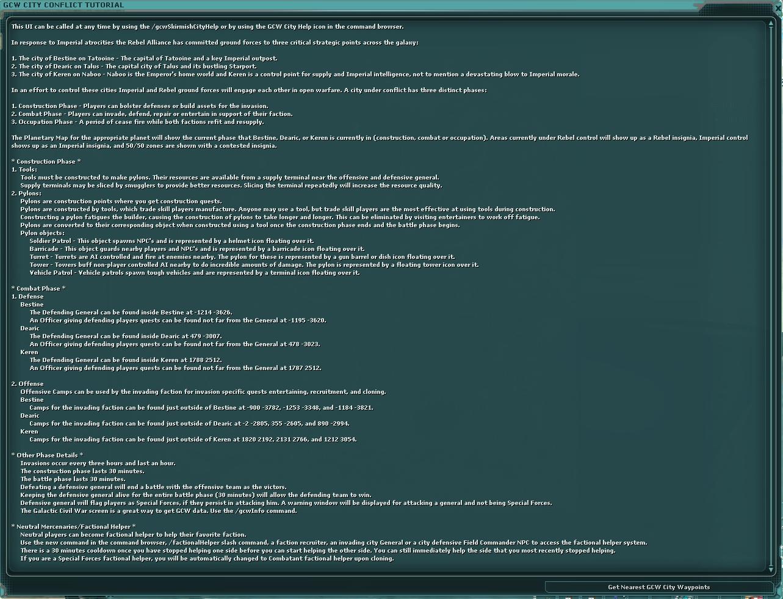 GCW City Conflict Tutorial | SWG Wiki | FANDOM powered by Wikia