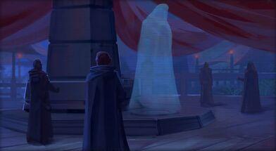 L'Empereur Sith s'adressant au Conseil Sombre