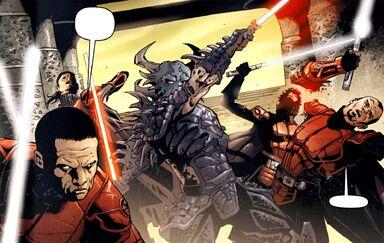 Dark Krayt affrontant les chevaliers impériaux