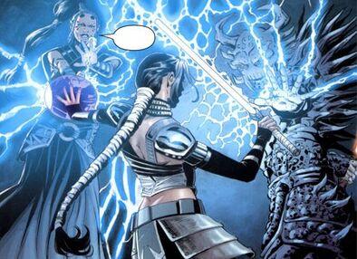 Dark Krayt aidé par Dark Maladi lançant des décharges d'éclairs de choc sur Celeste Morne