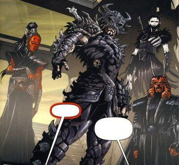 Dark Krayt entouré de ses principaux lieutenants , Dark Maladi , Dark Nihl et Dark Wyyrlok III