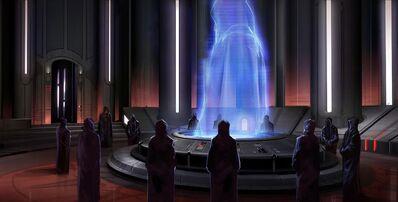 L'Empereur Sith parlant au Conseil Sombre