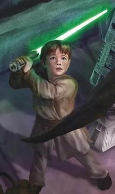 Le jeune Jacen Solo , padawan jedi défendant Luke Skywalker